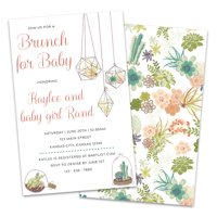 Personalized Floral Brunch Baby Shower Invitations