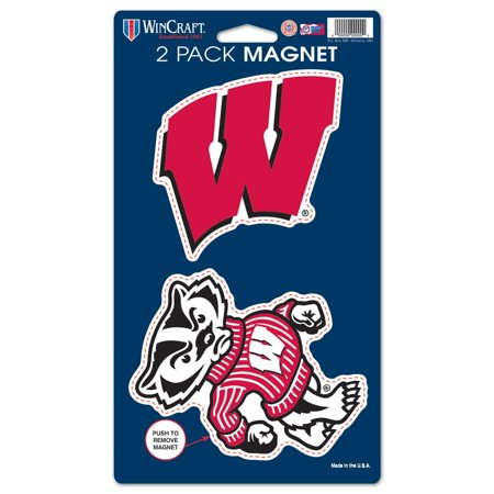 Wisconsin Badgers Official NCAA 5 inch  x 9 inch  Car Magnet 2-Pack by Wincraft