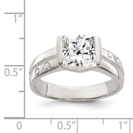 925 Sterling Silver Square Cubic Zirconia Ring - image 1 de 2