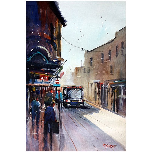 "Trademark Art ""Italian Bus Stop"" Canvas Art by Ryan Radke"