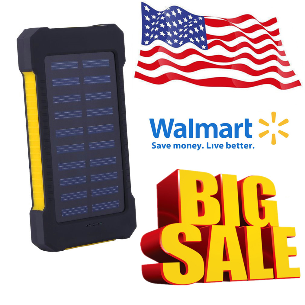 Portable Solar Battery Charger Dual USB Solar Power Bank External Battery For Mobile Phone 300000mAh Mobile Pover Bank