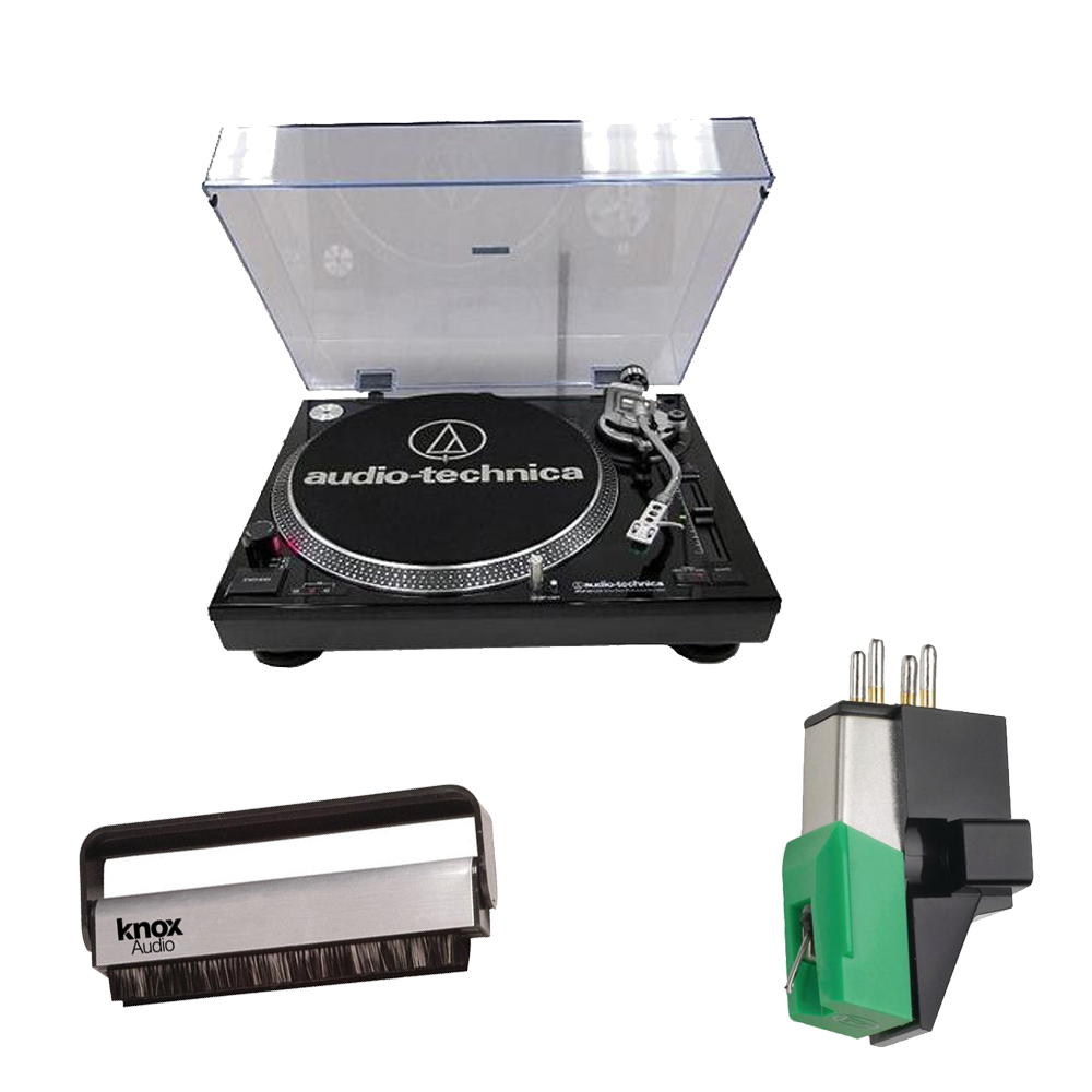 Audio Technica AT-LP120-USB Professional Turntable (Black) w  Mount Phono Cartridge & Brush Cleaner by Audio-Technica