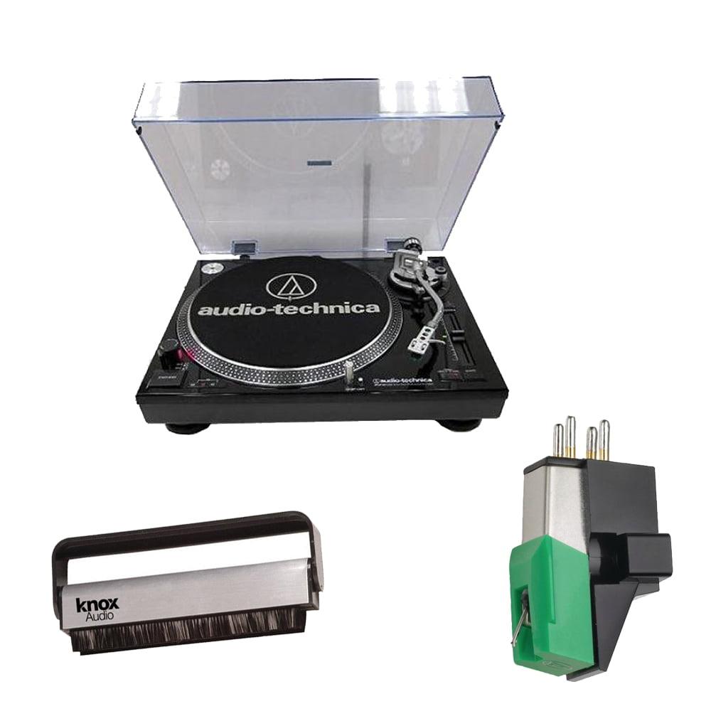 Audio Technica AT-LP120-USB Professional Turntable (Black) w/ Mount Phono Cartridge & Brush Cleaner