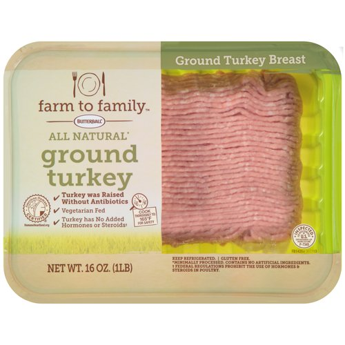 Butterball Farm to Family All Natural Ground Turkey Breast, 16 oz
