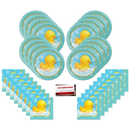 Duck Bubble Bath Rubber Ducky Party Supplies Bundle Pack for 16 guests (Plus Party Planning Checklist by Mikes Super Store)