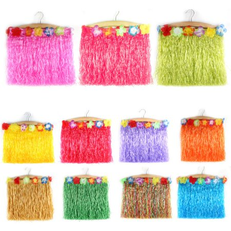 Flower Costume Jewelry - Children Kids Girls Hawaiian Flower Hula Grass Skirt Dance Costume Fancy Dress