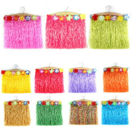 Children Kids Girls Hawaiian Flower Hula Grass Skirt Dance Costume Fancy Dress - Halloween Fancy Dress Competition