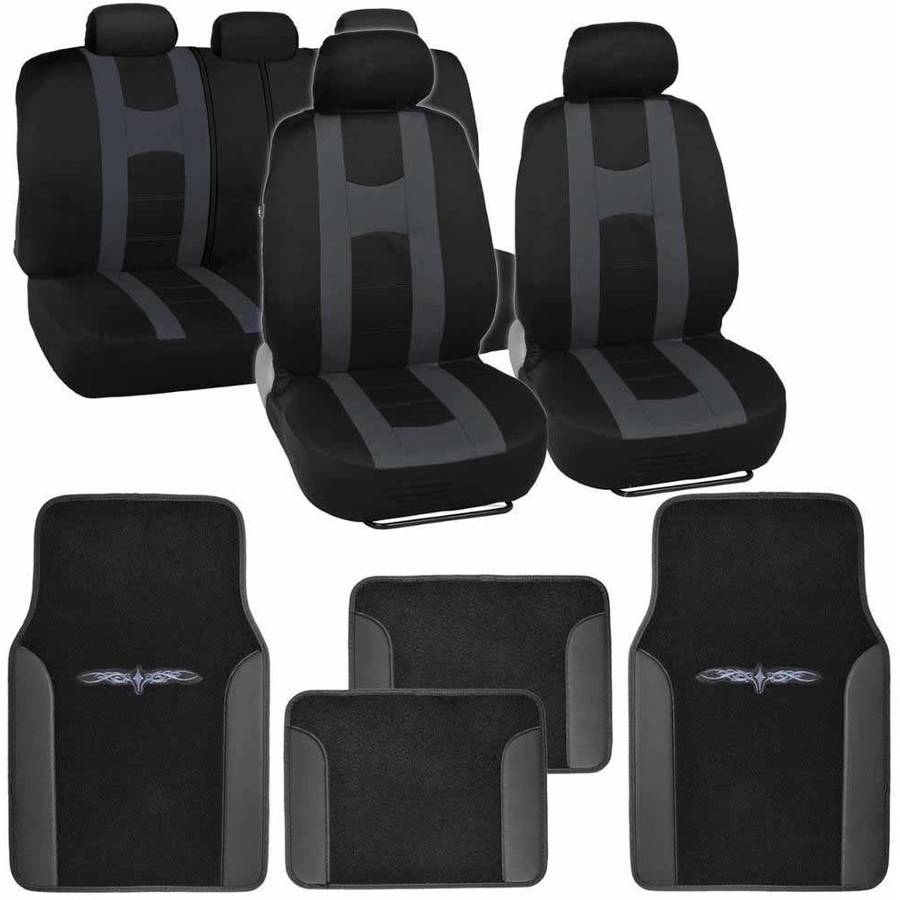 BDK Roam Sport Car Seat Covers with 4 Pieces Floor Mats, Split Bench, Easy Installation, 5 Colors