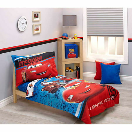 Disney Cars Team Lightening 4-Piece Toddler Bedding Set - Walmart.com