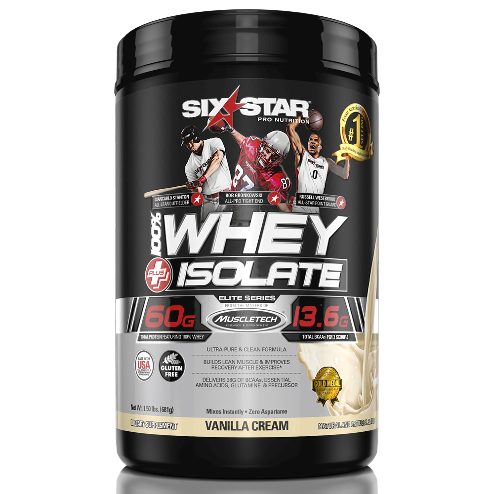 Six Star Pro Nutrition Elite Series Whey Isolate Protein Powder, Vanilla Cream, 60g Protein, 1.5 Lb