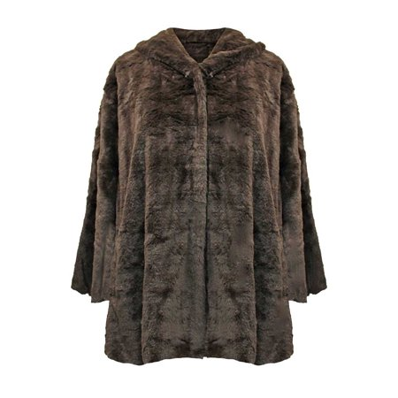 Fur Swing Coat - faux fur plush swing jacket with hood