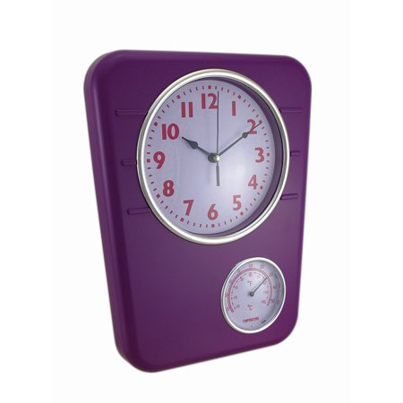 Bright Purple Wall Clock With Temperature Display