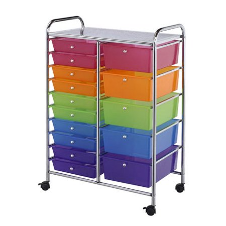 (Storage Trolley 15 Multicolor Multisized Drawers)