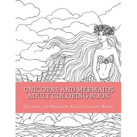 Unicorns And Mermaids Adult Coloring Book Easy Large Print