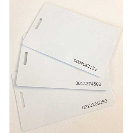 uAttend compatible proximity badge cards, 10 pack (RFID 125 KHz thin ISO 0.8 mm), works with CB5000 / CB5500 / CB6000 / CB6500 / MN1000 / MN2000 clock.., By COMPUMATIC