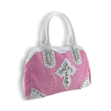 Zeckos - Mock Croc Doctor Style Handbag with Gothic Cross and Glossy White Trim - Pink - Size (Pink Moc Croc)