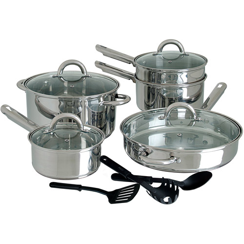 Gibson Home Abruzzo 12-Piece Cookware Set, Stainless Steel