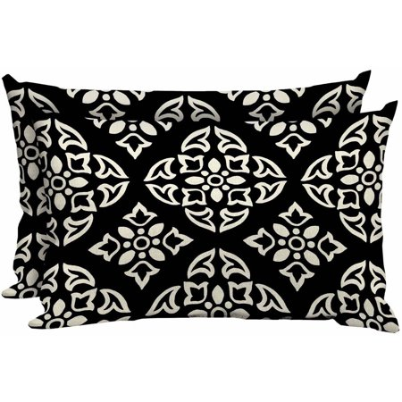 "Better Homes & Gardens Black and White Medallion 20""W x 12""D Outdoor Patio Lumbar Pillow, Set of Two"