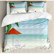 Nature Scene Duvet Cover Set, Cartoonish Graphic Beach with Palm Deck Chair Umbrella and Ocean, Decorative Bedding Set with Pillow Shams, Pale Blue and Multicolor, by Ambesonne