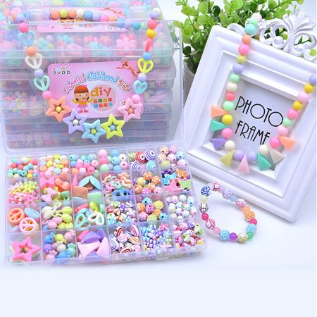 Beads Set Kids Adults Children Craft Diy Necklace Bracelets Colorful Acrylic Crafting Beads Kit Box With Accessories For Jewelry Making