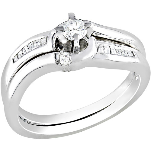 Miabella 1/4 Carat T.W. Round and Baguette Diamond Bridal Ring Set in Sterling Silver