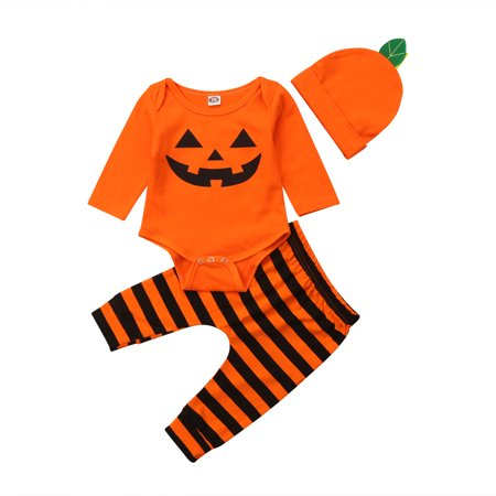 Infant Baby Boys Long Sleeve Pumpkin Romper with Striped Pant Halloween Costume