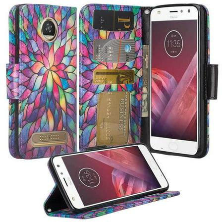 new arrival 34a32 26394 Motorola Moto Z2 Play Case, Moto Z2 Play Wallet Case, Wrist Strap Flip  Folio [Kickstand] Pu Leather Wallet Case with ID&Credit Card Slot For  Verizon ...