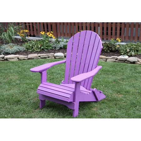 Bright Purple POLY LUMBER Rolled Seating Heavy Duty EVERLASTING Lifetime PolyTuf HDPE AMISH CRAFTED Folding Adirondack Chair ()