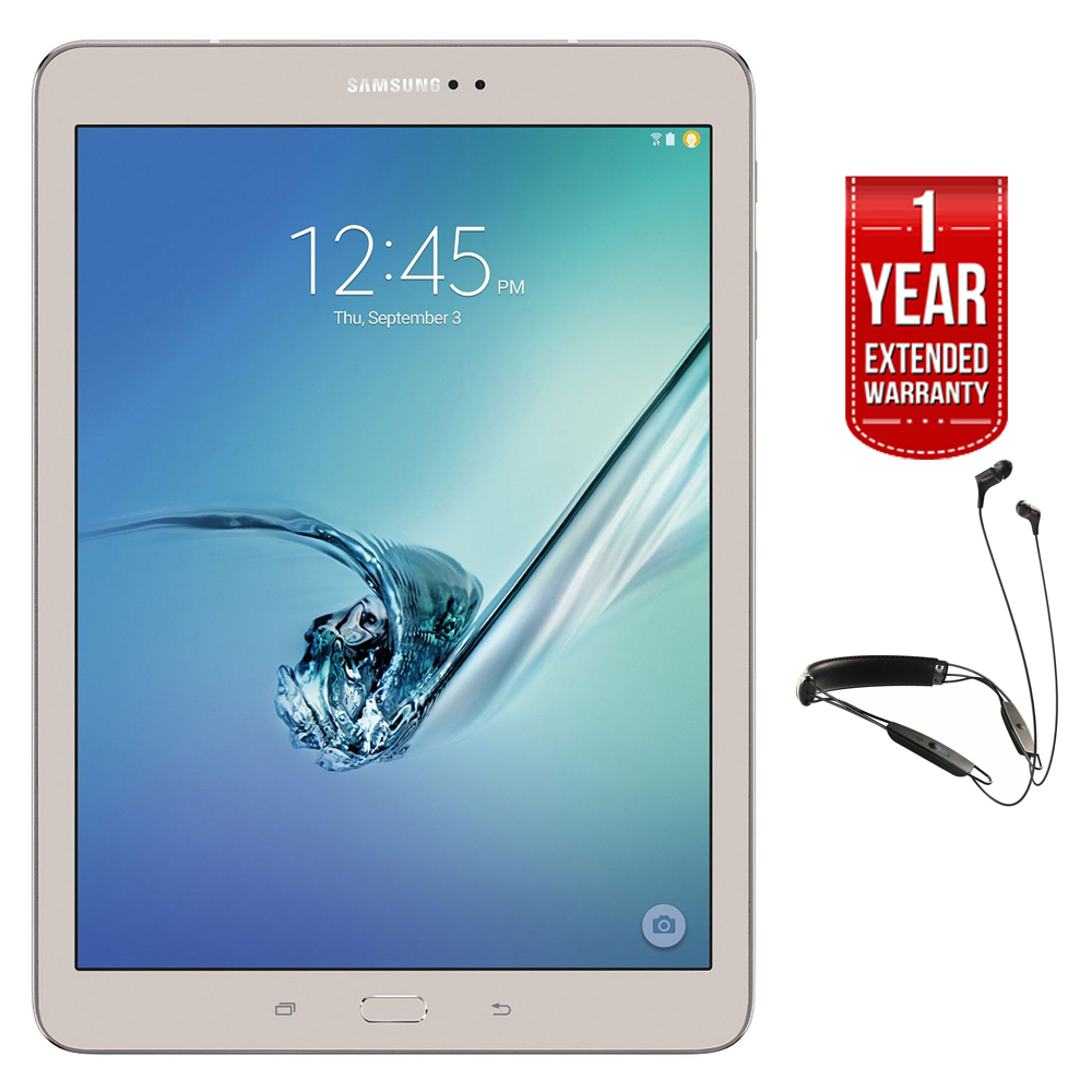 "Samsung Galaxy Tab S2 9.7"" 32GB Wi-Fi Tablet Gold (SM-T813NZDEXAR) with R6 Neckband Earbuds with Bluetooth + 1 Year Extended Warranty"