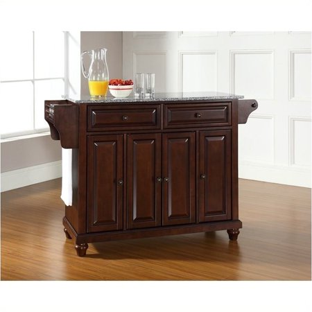 Pemberly Row Solid Granite Top Mahogany Kitchen Island ()