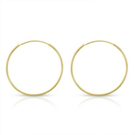 14k Yellow Gold Womens 1mm Round Endless Tube Hoop Earrings 18mm Diameter
