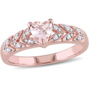 1/2 Carat T.G.W. Morganite and Diamond-Accent Pink-Plated Sterling Silver Heart Ring