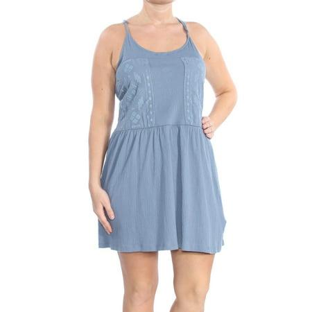 ROXY Womens Blue Pocketed Sleeveless Halter Above The Knee A-Line Evening Dress  Size: - Roxy Halter Dress