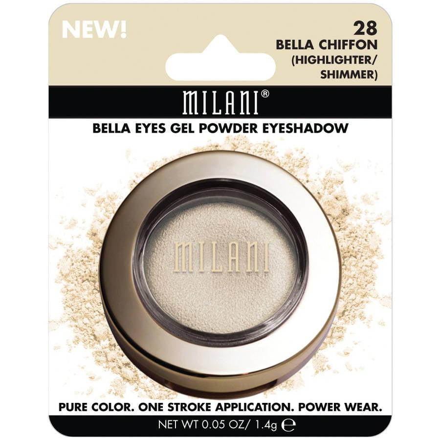 Milani Bella Eyes Gel Powder Eyeshadow, 28 Bella Chiffon Highlighter/Shimmer, 0.05 oz