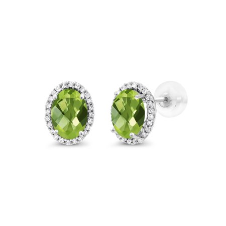 2.04 Ct Oval Checkerboard Green Peridot White Diamond 10K White Gold Earrings