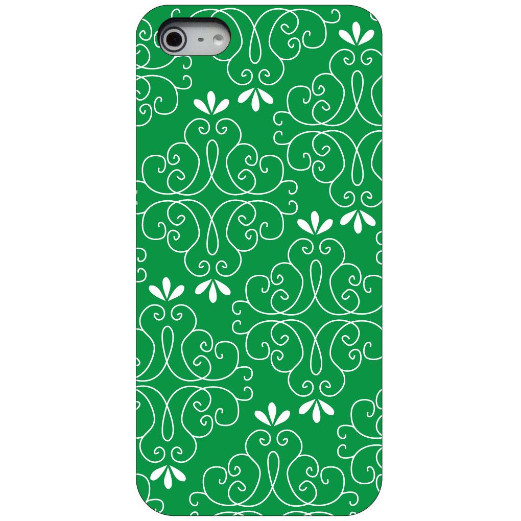 CUSTOM Black Hard Plastic Snap-On Case for Apple iPhone 5 / 5S / SE - Dark Green White Floral