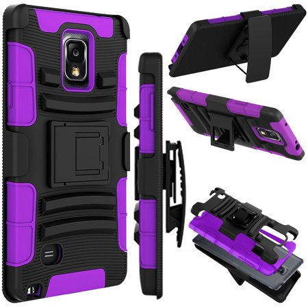 Galaxy Note 4 Case, Tekcoo ™ [Hoplite Series] Shock Absorbing Holster Locking Belt Clip Defender Heavy Kickstand Full Body Case Cover For Samsung Galaxy Note 4 N9100 (Samsung 4 Stand)