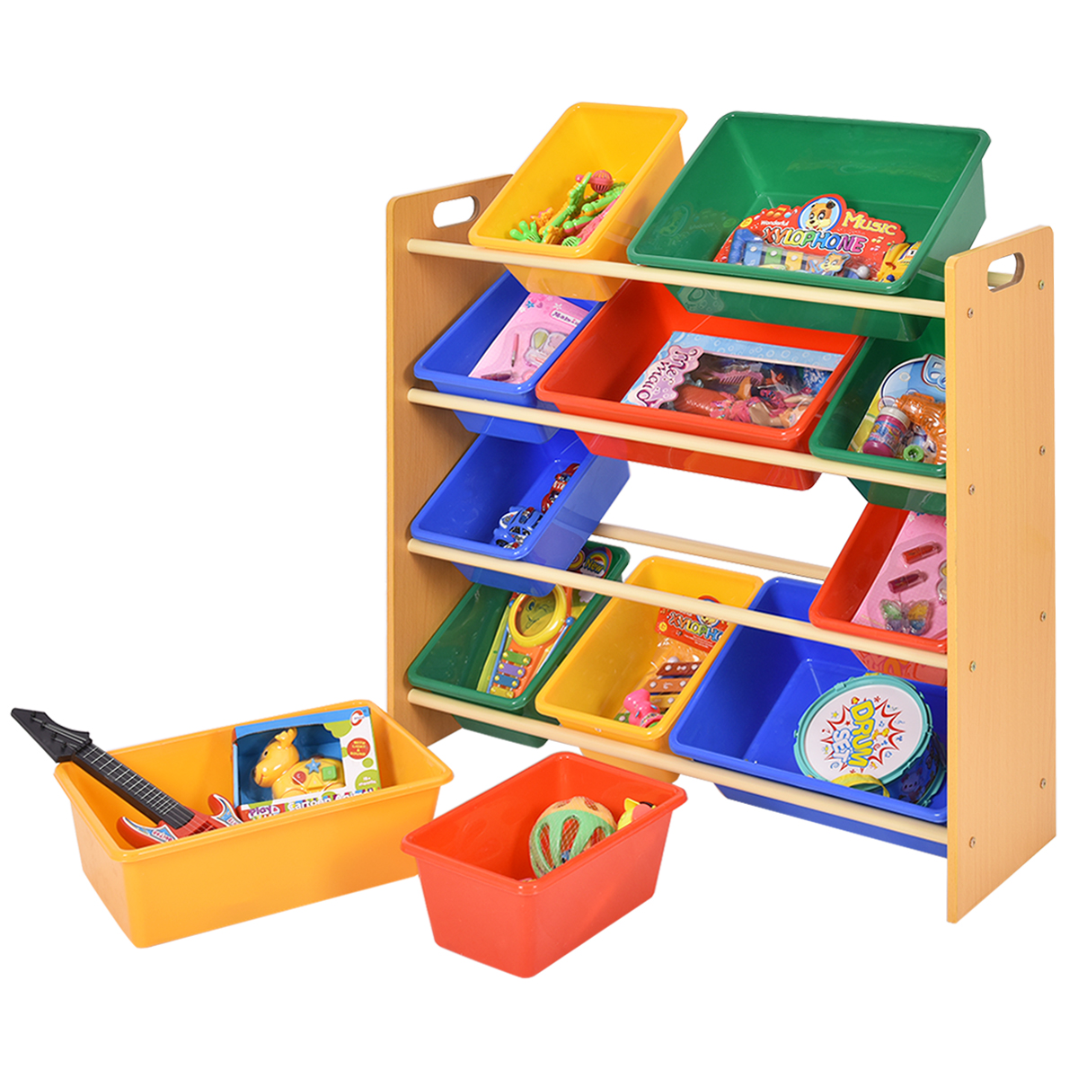 Costway Toy Bin Organizer Kids Childrens Storage Box Playroom Shelf Drawer by Costway