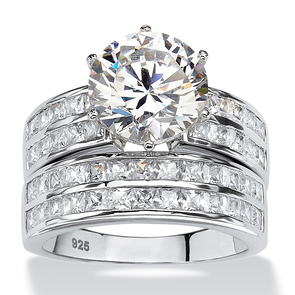 5.84 TCW Round Cubic Zirconia Two-Piece Channel Bridal Ring Set in Platinum over Sterling Silver by PalmBeach Jewelry