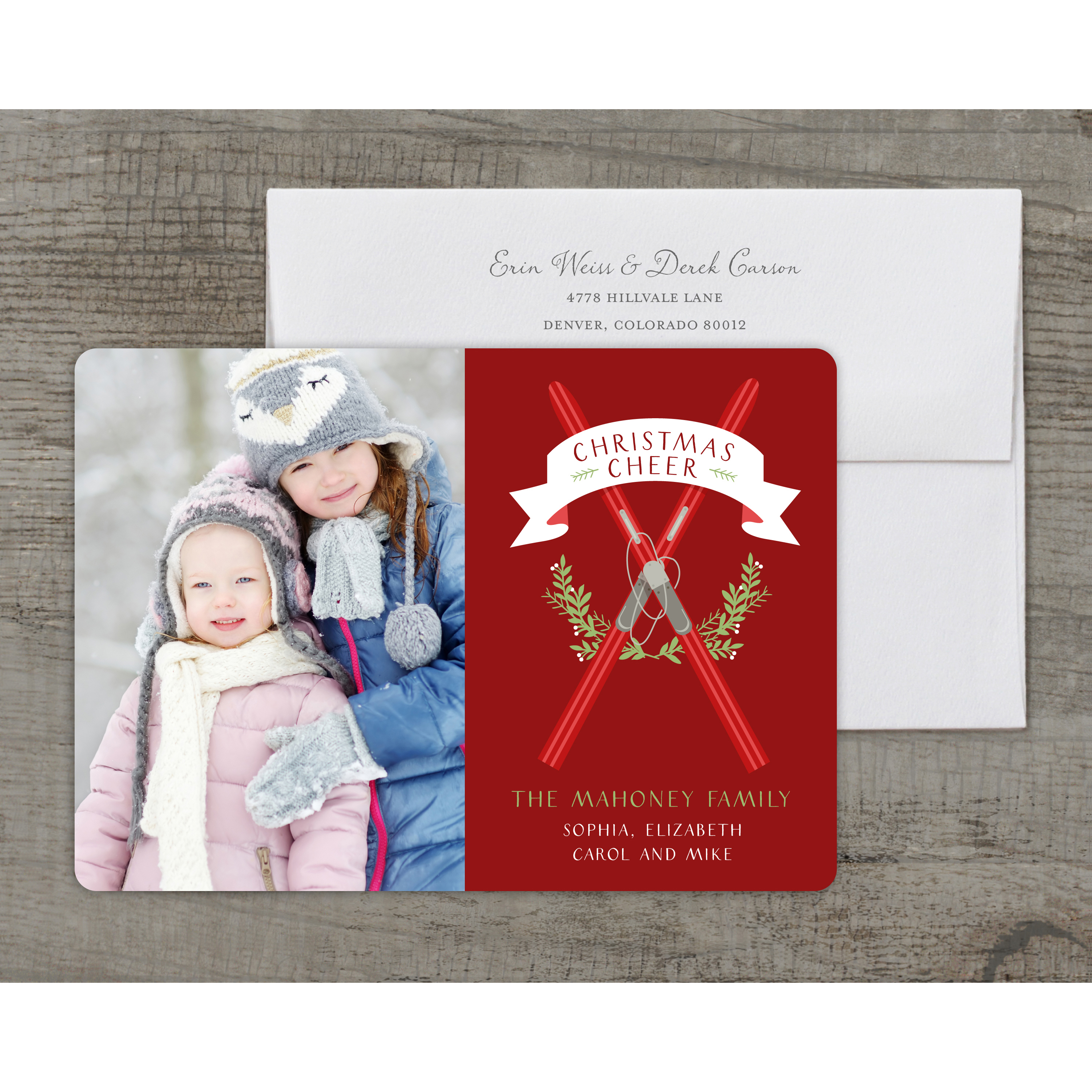 Ski House - Deluxe 5x7 Personalized Holiday Christmas Card
