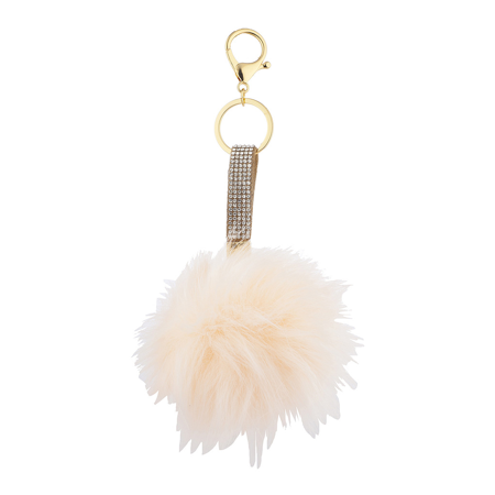 Lux Accessories Tan Sticker Stone and Pink Faux Fur Pom Pom Keychain Bag Charm