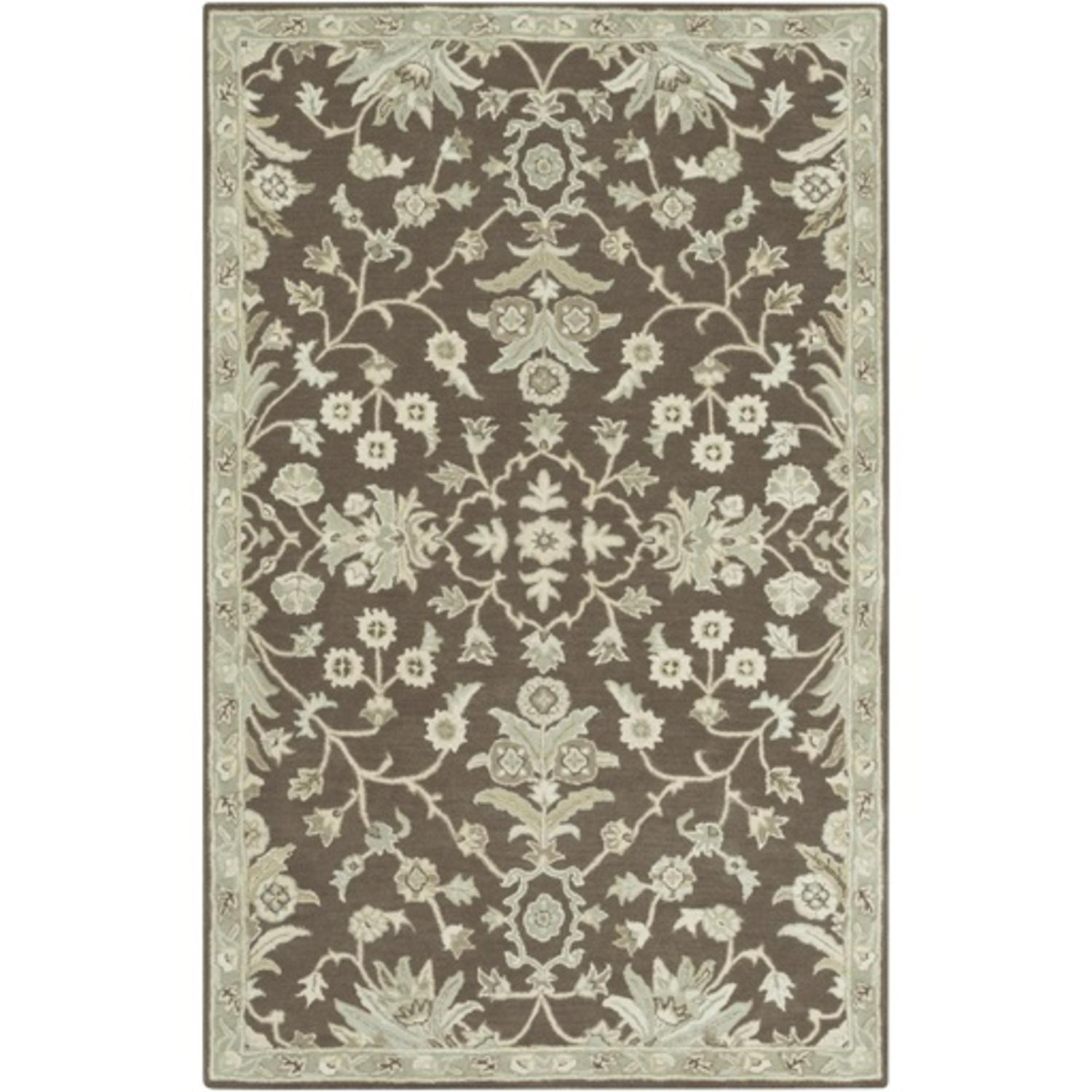 10' x 14' French Elegance Chocolate Brown, Gray and Cream Hand Tufted Wool Area Throw Rug