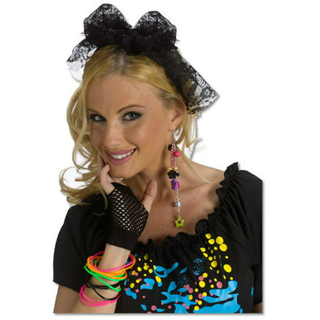 Pop Stars Costumes (Rockin 80s Black Lace Hair Tie 1980s Pop Star Headband Womens Costume)