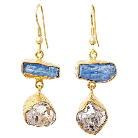 Gold-plated Brass Kyanite, Herkimer Diamond Rough Cut Gemstone Handmade Earrings