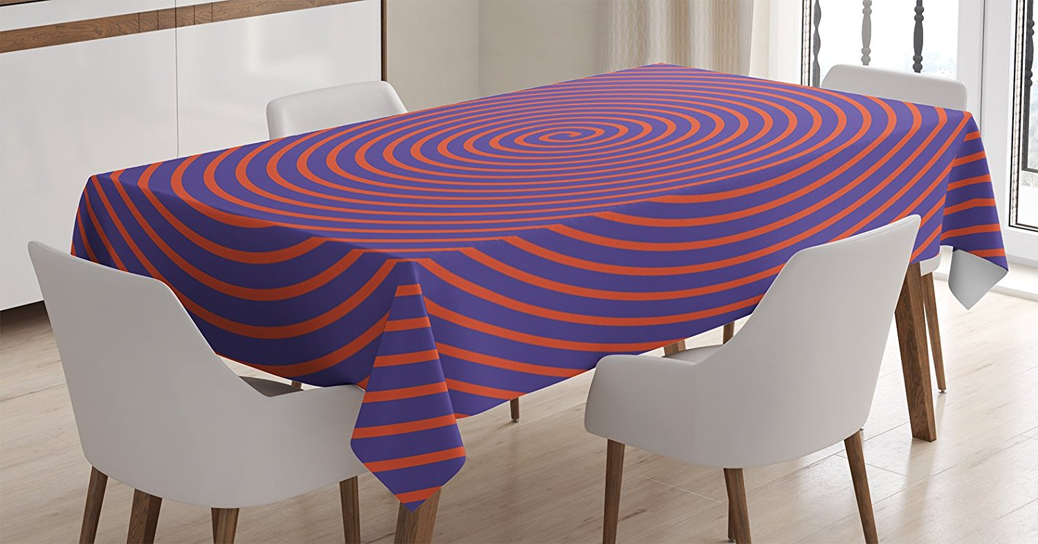 Psychedelic Decor Tablecloth By , Hypnotic Spiral Pattern Dizzy Spell Theme  Image Optical Rotary Retro Illustration, Dining Room Kitchen Rectangular ...