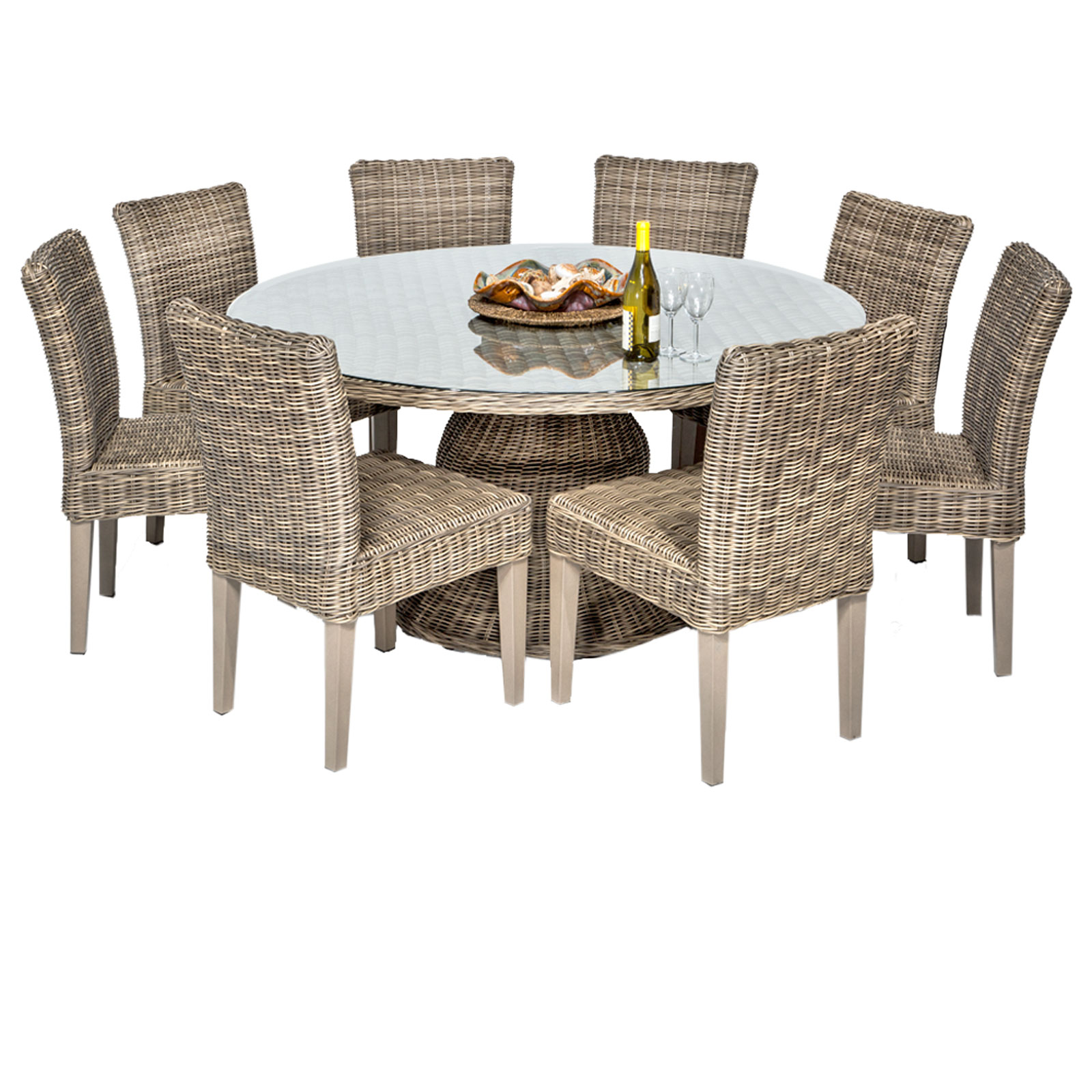 Royal Vintage Stone 60 Inch Outdoor Patio Dining Table With 8 Chairs