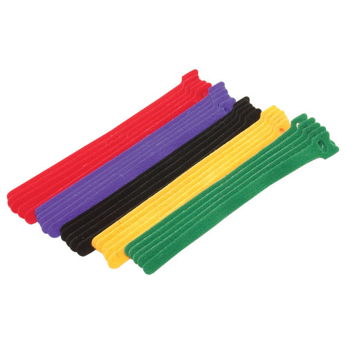 CableWholesale 30CT-02280 0.50 x 8 in. Black Hook & Loop Cable Strap with Eye - Pack of 25