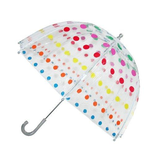 totes ISOTONER  Kids Vinyl Pinch-Proof Clear Bubble Umbrella, Polka Dots