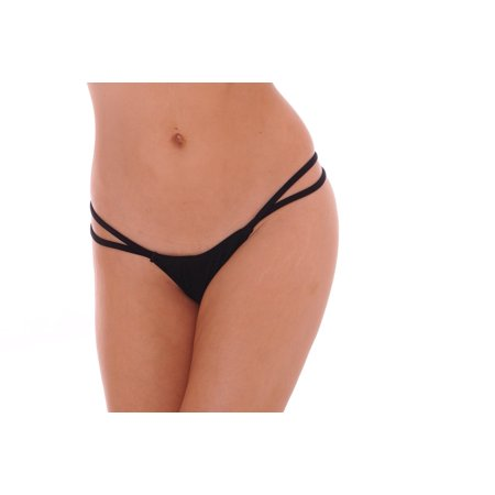 V-Back Thong Dancewear with Double String Set of 2 Entertainer Costume Underwear, One Size, Black
