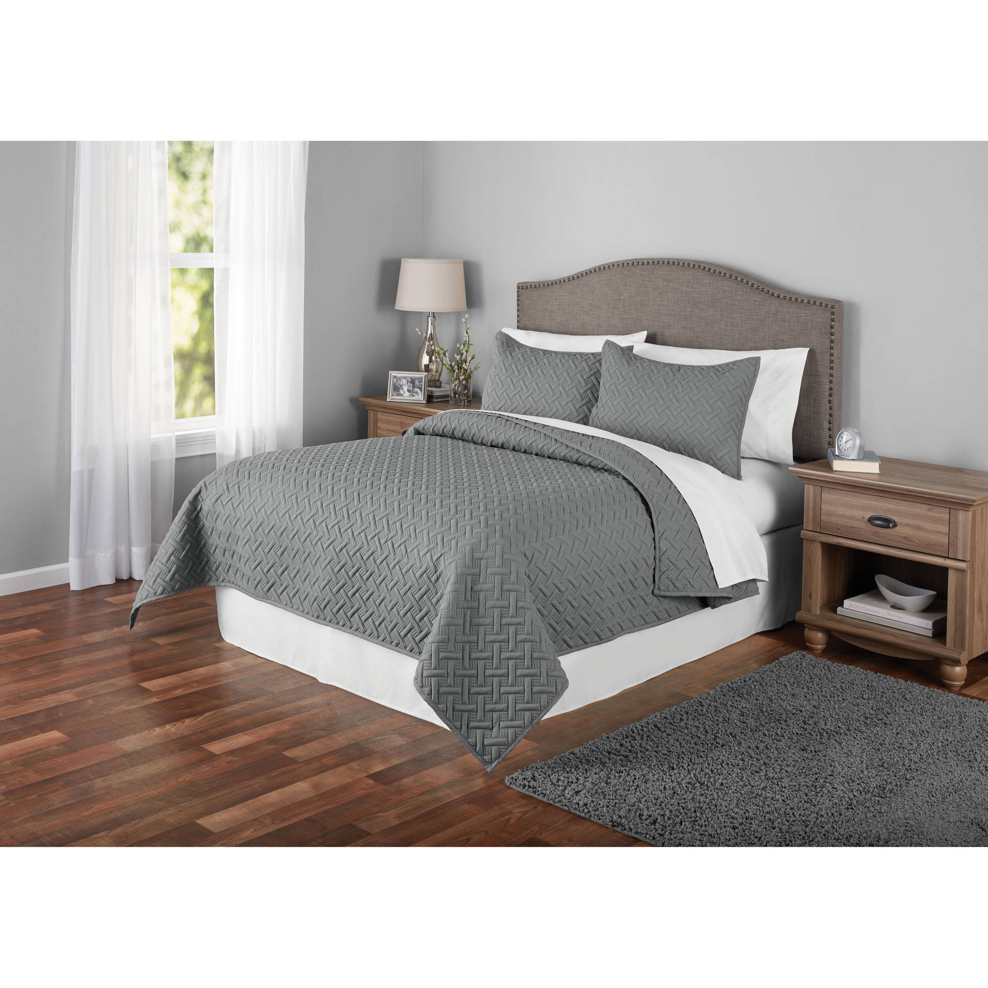 Mainstays Emma Solid Basket-Weave Quilt and Shams, Multiple Colors and Sizes Available by VCNY Home